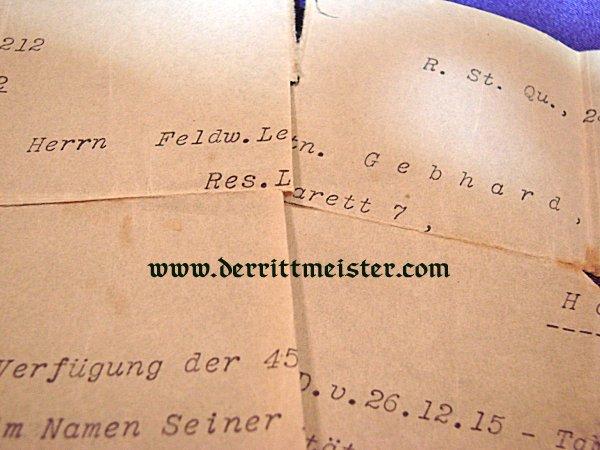 AWARD DOCUMENT - 1914 IRON CROSS 1st CLASS - FELDWEBEL LEUTNANT - RESERVE-INFANTERIE-REGIMENT NR 212 - Imperial German Military Antiques Sale