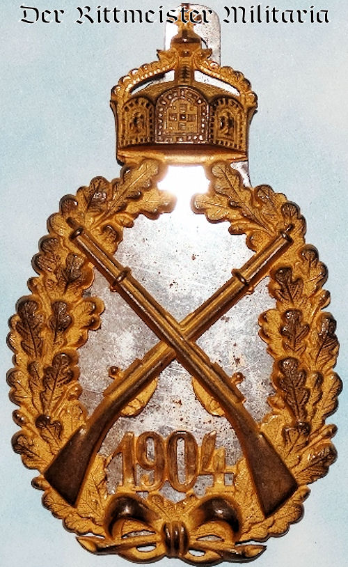 PRUSSIA - SHOOTING AWARD (INCOMPLETE) -  KAISER WILHELM II - 1904'S TOP INFANTERIE REGIMENT - Imperial German Military Antiques Sale