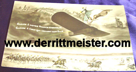 COLOR POSTCARD - FRENCH AIRPLANE - FRENCH ARMY - BATTLE - Imperial German Military Antiques Sale