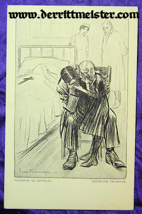 POSTCARD - GRIEVING FAMILY - DEATH - ZEPPELIN BOMBING - Imperial German Military Antiques Sale