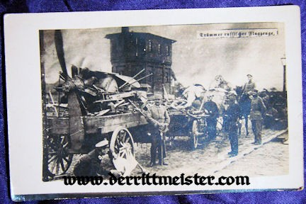 POSTCARD - GERMAN WAGON - WRECKAGE -AIRPLANE - Imperial German Military Antiques Sale
