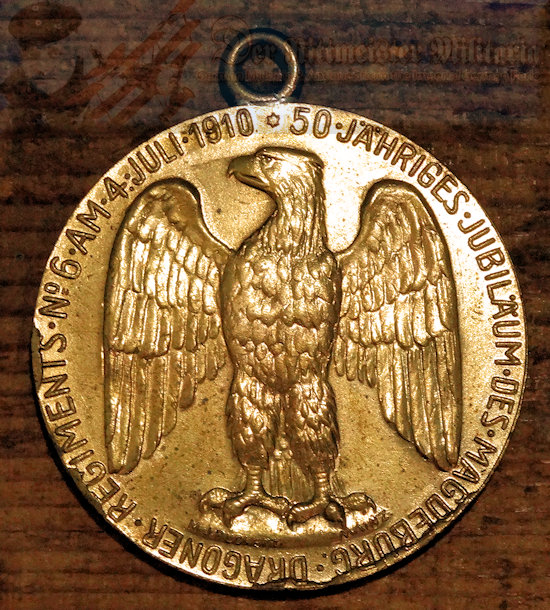 PRUSSIAN - DRAGONER-REGIMENT NR 6 - VETERAN'S MEDAL COMMEMORATING FIFTY YEARS - Imperial German Military Antiques Sale