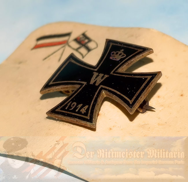 PATRIOTIC PIN  - ENAMELED IRON CROSS ON ORIGINAL SALES CARD - Imperial German Military Antiques Sale