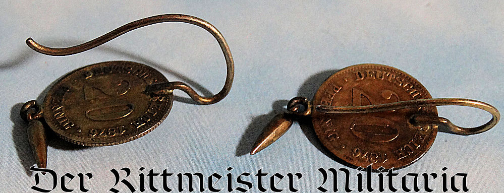 PATRIOTIC EARRINGS FASHIONED FROM COINS - Imperial German Military Antiques Sale