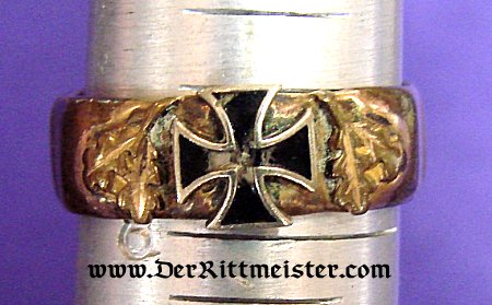 PATRIOTIC IRON CROSS RING - ARTILLERY SHELL DRIVING BAND