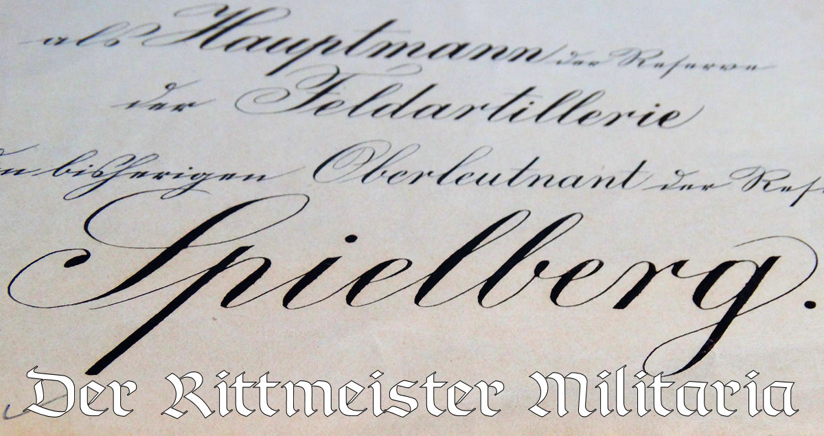 PROMOTION PATENT - OFFICER'S TO HAUPTMANN der RESERVE - SIGNED BY KAISER WILHELM II - Imperial German Military Antiques Sale