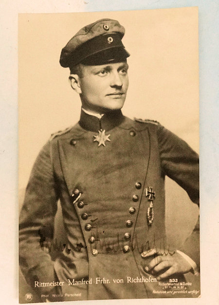 SANKE CARD - RITTMEISTER MANFRED VON RICHTHOFEN - AUTOGRAPHED - NR 533 - Imperial German Military Antiques Sale