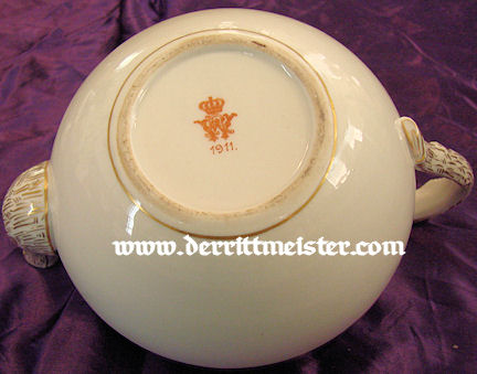 TEAPOT - PERSONAL SERVICE - KAISER WILHELM II - Imperial German Military Antiques Sale