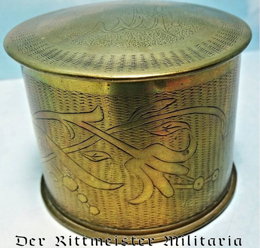 TRENCH ART ARTILLERY SHELL CASING CONVERTED TO LIDDED CONTAINER - Imperial German Military Antiques Sale
