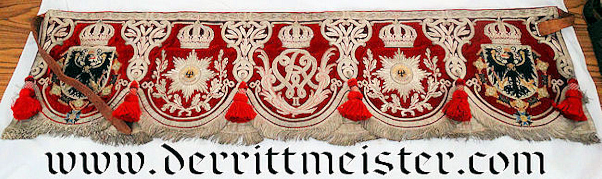 REGIMENT der GARDES du CORPS M-1904 KETTLE DRUM BANNER & BACKING PAD - PRUSSIA - Imperial German Military Antiques Sale