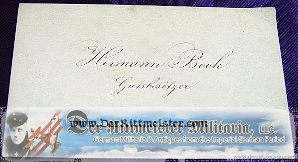 CALLING CARD - HERMANN BOCK - GUTSBESITZER - Imperial German Military Antiques Sale