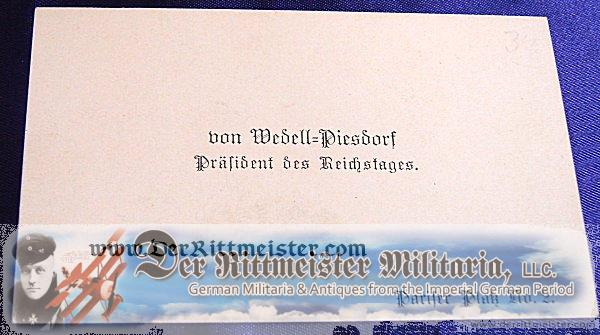 CALLING CARD - REICHSTAGS PRÄSIDENT - von WEDELL-PIESDORF - Imperial German Military Antiques Sale