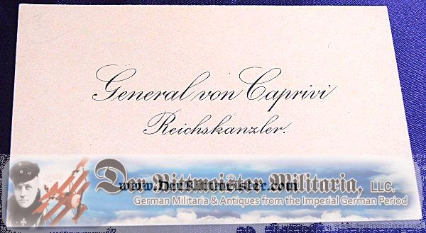 CALLING CARD - GENERAL von CAPRINI - REICHSKANZLER - Imperial German Military Antiques Sale