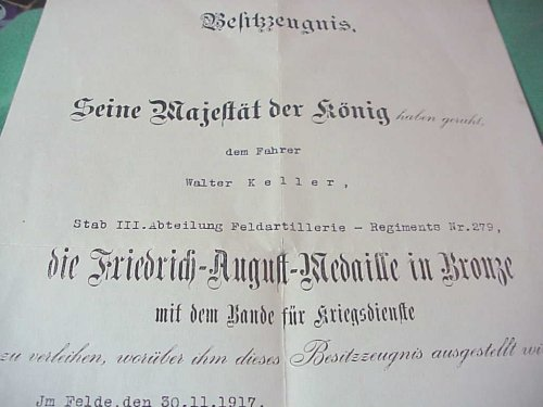 DOCUMENT FOR THE FRIEDRICH-AUGUST MEDAL IN BRONZE - SAXONY - Imperial German Military Antiques Sale