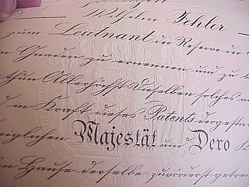 TWO PROMOTION DOCUMENTS (PATENTS) FOR AN OFFICER IN THE PRUSSIAN ARMY - Imperial German Military Antiques Sale