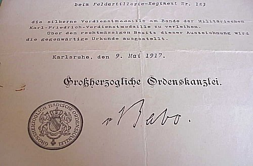 AWARD DOCUMENT FOR THE MILITARY KARL-FRIEDRICH SILVER SERVICE MEDAL - BADEN - Imperial German Military Antiques Sale