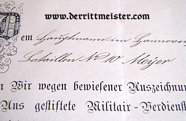 1870 MILITARY SERVICE CROSS 2nd CLASS AND URKUNDE - MECKLENBURG-SCHWERIN - Imperial German Military Antiques Sale