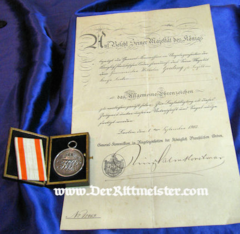 ALLGEMEINES EHRENZEICHEN 2nd CLASS AND AWARD DOCUMENT IN THE ORIGINAL PRESENTATION CASE - Imperial German Military Antiques Sale