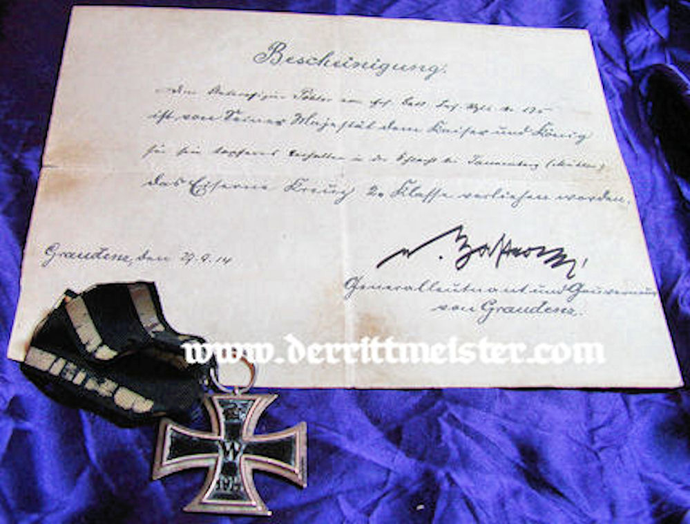 1914 IRON CROSS 2nd CLASS DOCUMENT & DECORATION - Imperial German Military Antiques Sale