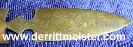 TRENCH ART LETTER OPENER - Imperial German Military Antiques Sale