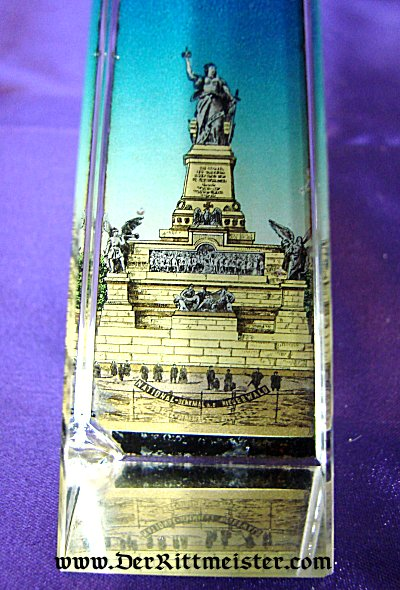 GLASS PRISM DESK PIECE SHOWING GERMANIA - Imperial German Military Antiques Sale