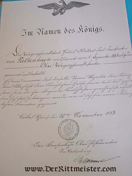 DOCUMENT GROUP TO AN OFFICER DURING THE REIGN OF KAISER (AND KING) WILHELM I AND KING FRIEDRICH WILHELM IV - Imperial German Military Antiques Sale