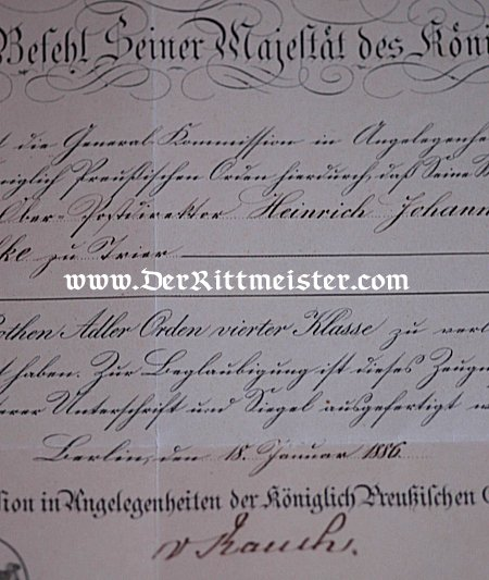 AWARD DOCUMENT FOR THE RED EAGLE 4th CLASS - Imperial German Military Antiques Sale