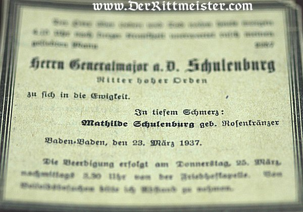 DOCUMENT GROUP TO GENERALMAJOR MAX SCHULENBURG - Imperial German Military Antiques Sale