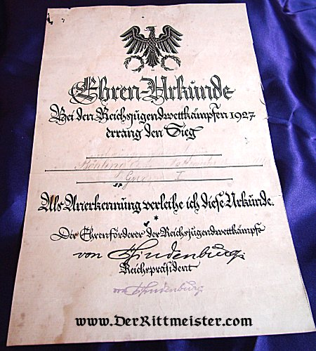 EHREN-URKUNDE - POST WW I GERMANY - Imperial German Military Antiques Sale