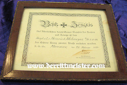 FRAMED AWARD DOCUMENT - 1914 IRON CROSS 2nd CLASS - RESERVE-INFANTERIE-REGIMENT Nr 92 - Imperial German Military Antiques Sale