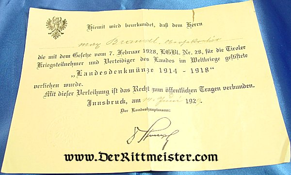AWARD DOCUMENT - AUSTRIAN LANDESDENKMÜNZE 1914-1918 - Imperial German Military Antiques Sale