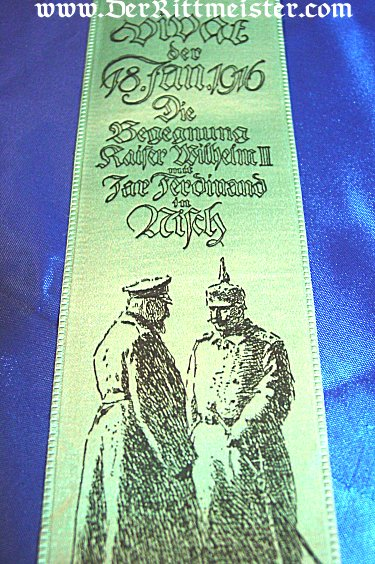 VIVAT RIBBON - KAISER WILHELM II AND CZAR FERDINAND OF BULGARIA - Imperial German Military Antiques Sale