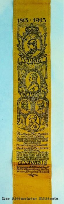 VIVAT RIBBON SALUTING HOUSE OF HOHENZOLLERN RULERS' CENTENNIAL (1813-1913) - Imperial German Military Antiques Sale