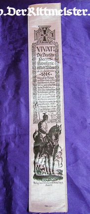 VIVAT RIBBON - GERMAN CAVALRY - Imperial German Military Antiques Sale