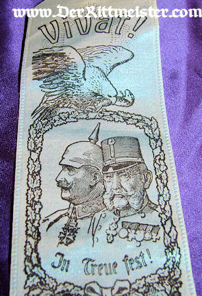 VIVAT RIBBON - KAISER WILHELM - KAISER FRANZ JOSEPH - Imperial German Military Antiques Sale