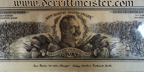 FRAMED EARLY WW I KAISER WILHELM II VIVAT RIBBON - Imperial German Military Antiques Sale