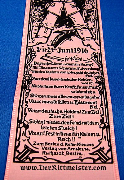VIVAT RIBBON CELEBRATING -BATTLES - VAUX AND THIAMONT - Imperial German Military Antiques Sale