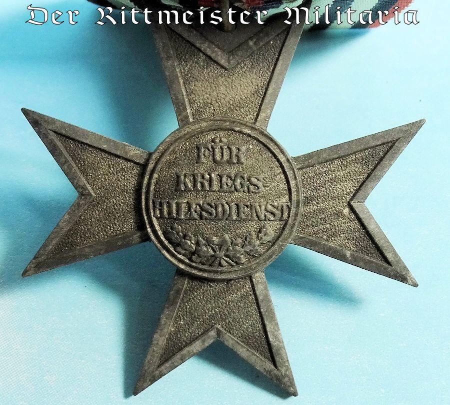 MEDAL BAR - ONE-PLACE - PRUSSIA - VERDIENSTKREUZ FÜR KRIEGSHILFE - Imperial German Military Antiques Sale