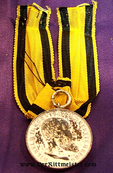 KÖNIG WILHELM II - SILVER SERVICE MEDAL - Imperial German Military Antiques Sale