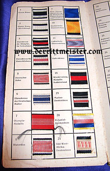 PERIOD FOLIO - DECORATION ID'S & RIBBON SAMPLES - IMPERIAL GERMANY, THIRD REICH, AND OTHER COUNTRIES - Imperial German Military Antiques Sale