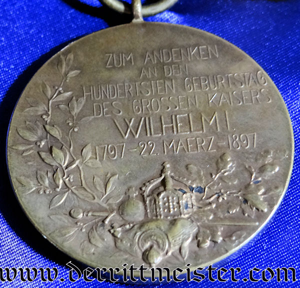KAISER WILHELM I CENTENNIAL MEDAL WITH BOW - Imperial German Military Antiques Sale