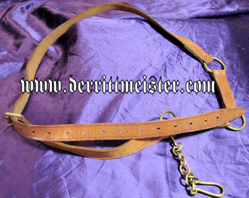 BROWN LEATHER BELT - SWORD HANGER - Imperial German Military Antiques Sale