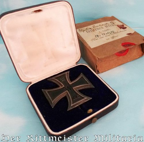 IDENTIFIED 1914 IRON CROSS 1st CLASS WITH ORIGINAL PRESENTATION CASE AND CARDBOARD SHIPPING CARTON - Imperial German Military Antiques Sale