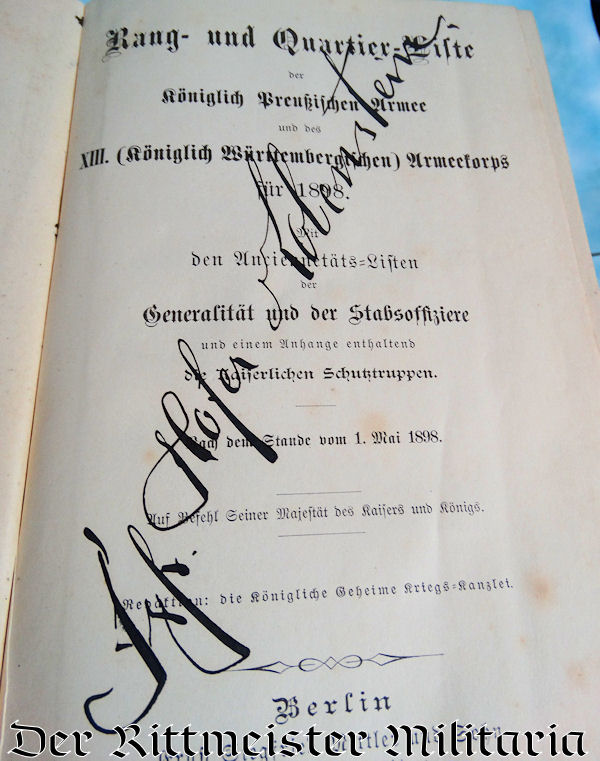 1898 PRUSSIAN ARMY RANG-UND-QUARTIER-LISTE - Imperial German Military Antiques Sale