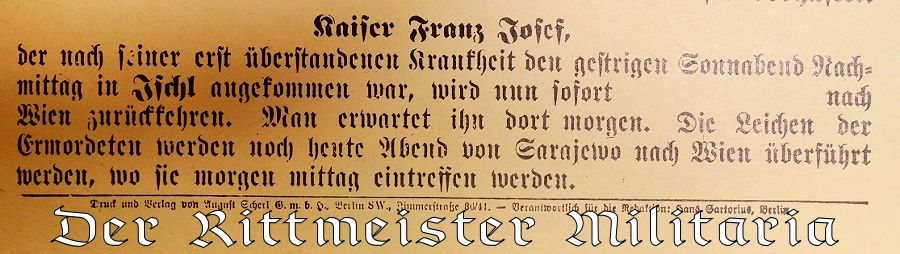 BERLINER LOKAL-ANZEIGER SPECIAL EDITION DATED SUNDAY, 28 JUNE 1914: ANNOUNCING ARCHDUKE FRANZ FERDINAND OF AUSTRIA'S ASSASSINATION IN SERBIA - Imperial German Military Antiques Sale