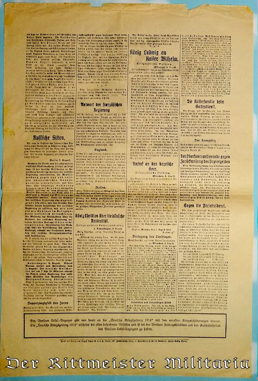 1914 DEUTSCHE KRIEGSZEITUNG NEWSPAPER - Imperial German Military Antiques Sale