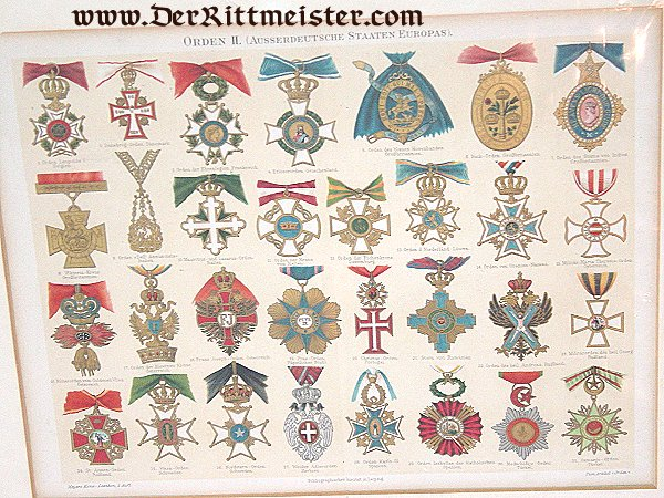 MATTED PAGE FROM ORDEN DER AUSSERDEUTSCHE STAATEN EUROPAS PLATE Nr 2 - Imperial German Military Antiques Sale
