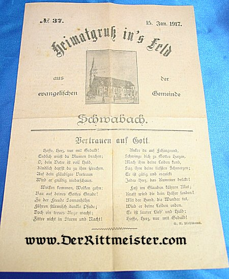 GERMANY - NEWSLETTER - CHURCH SERVICE PROGRAM OR NEWSLETTER - Imperial German Military Antiques Sale