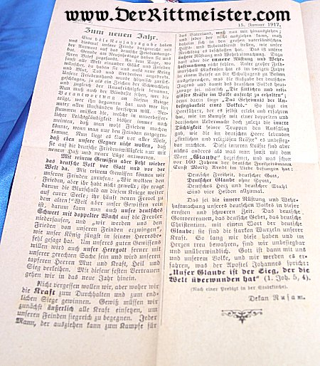 CHURCH SERVICE PROGRAM OR NEWSLETTER - Imperial German Military Antiques Sale