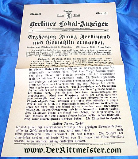 BERLIN NEWSPAPER - ASSASSINATION - AUSTRIAN ARCHDUKE FRANZ-FERDINAND - Imperial German Military Antiques Sale